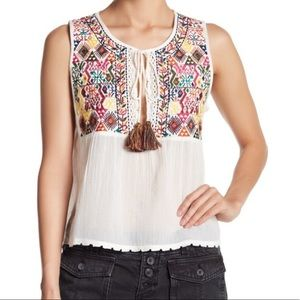 Free People Lohri Embroidered Cotton Top XS NWT